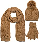 styleBREAKER conjunto de chal, gorro y guantes, chal de punto con motivo trenzado con gorro con pompón y guantes, señora 01018208, color:Coñac/bufanda