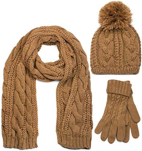 styleBREAKER sjaal, muts en handschoenenset, vlechtpatroon gebreide sjaal met bobbelmuts en handschoenen, dames 01018208
