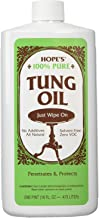 Hope's 100% Pure Tung Oil, Moisture Resistant Wood Finish for All Fine Woods, Furniture and Antiques, 16 Ounce Bottle, 2 Pack