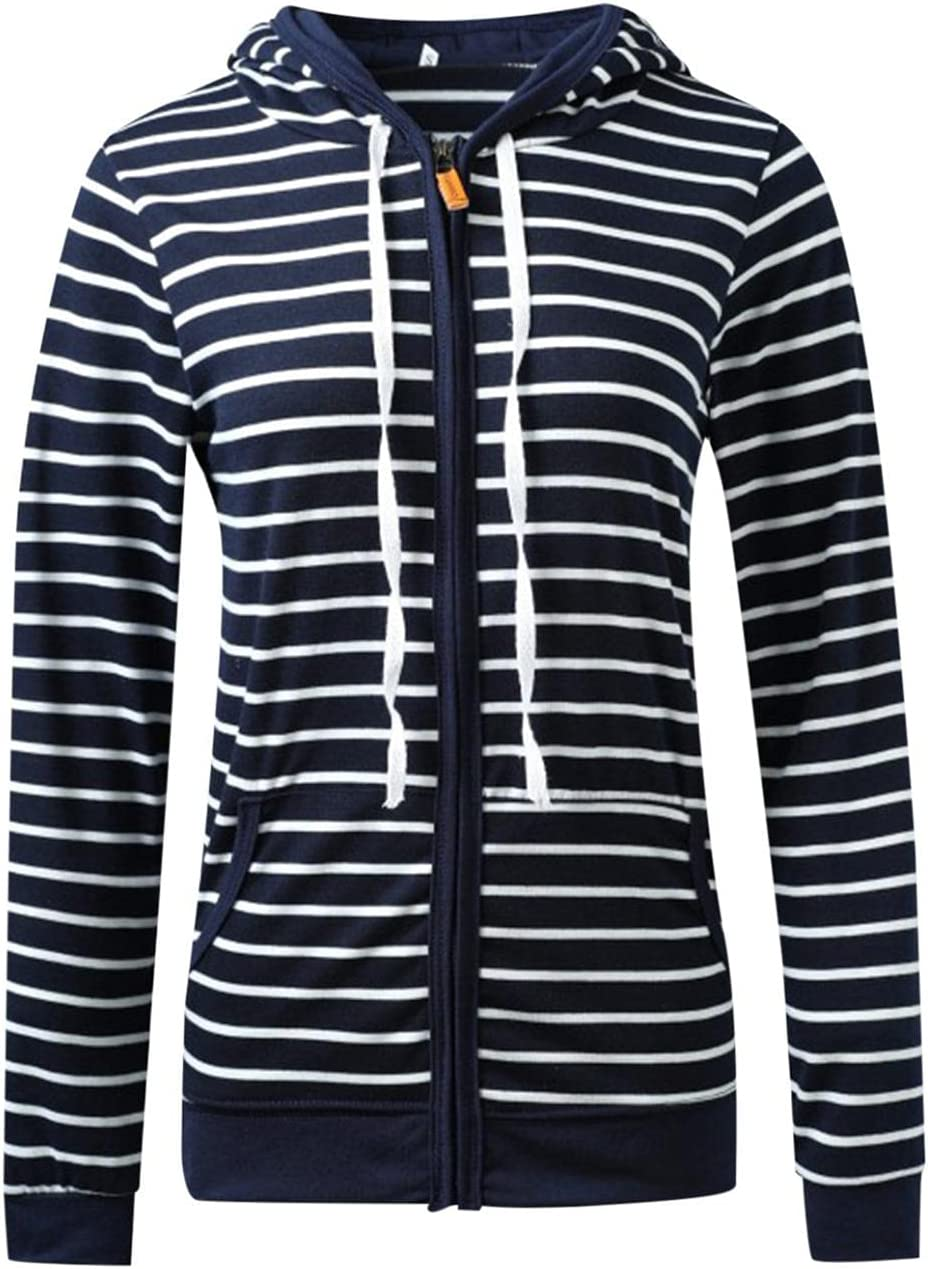 Nulairt Hoodies for Women,Womens Striped Hooded Sweatshirt Drawstring Lightweight Zip Up Jackets with Pockets