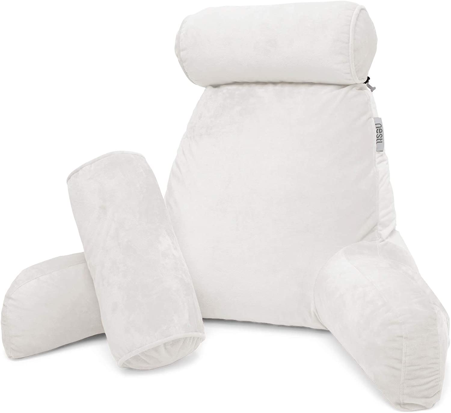 Nestl Reading Pillow, Includes 1 Extra Large Bed Rest Pillow with Arms and Pockets + 2 Detachable Pillows - Premium Shredded Memory Foam TV Pillow, Neck Roll & Lumbar Support Pillow - Set of 3 - White