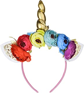 Love Sweety Halloween Unicorn Headband Girls Birthday Flower Crown Costume Headwear (Rainbow Golden-H)