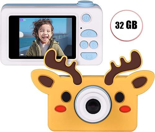 El ultimo 2018 DFGDSAS Cámara for Niños, Niños, Niños, cámara Digital de Alta definición for Niños, 1080P, 8 megapíxeles, PanTalla a Color de 2,0 Pulgadas con Adhesivos y Cable USB ( Color   azul+Giraffe )  mas barato