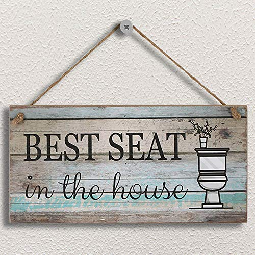 "Yankario Funny Bathroom Wall Decor Sign, Farmhouse Rustic Bathroom Decorations Wall Art, 12"" by 6"" Best Seat Wood Plaque"