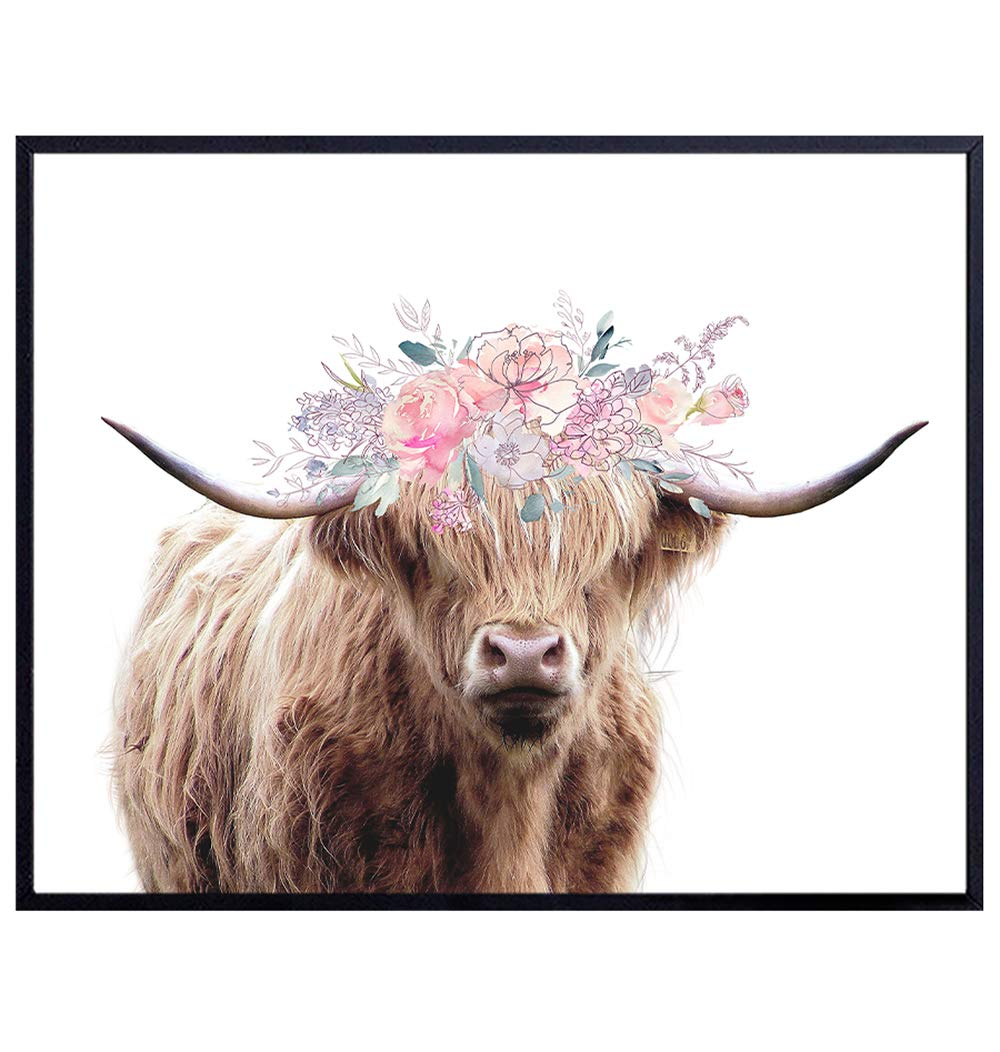 Highland Cow With Floral Wreath Wall Art Print Home Decor - Unframed Shabby Chic 8X10 Photo Poster - Unique Gift for Bedrooms, Kids or Girls Room, Kitchen, Office and Living Room, Ranch or Farmhouse