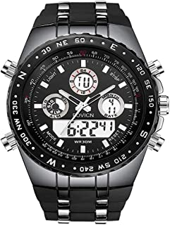 Mens Black Watches Big Face Sports Watch for Men, Waterproof Military Wrist Digital Watches Men's Wristwatch with Silicone Band