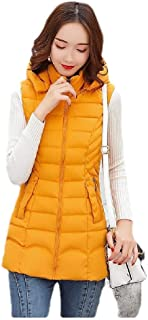 neveraway Women's Basic Style Hooded Mid-Long Zip Solid Keep Warm Puffer Vest