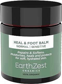 Crema para pies de EarthZest Organics. Bálsamo para sanar y pies para talones agrietados, piel seca y pie de atleta - 100% orgánico, vegano certificado. Seguro para diabéticos, karité y menta 60 g