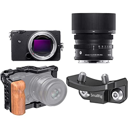 Sigma fp Mirrorless Digital Camera with 45mm f/2.8 DG DN Contemporary Lens - Bundle with SmallRig Camera Cage with Wooden Grip, SmallRig Lens Adapter Support fp Camera Cage