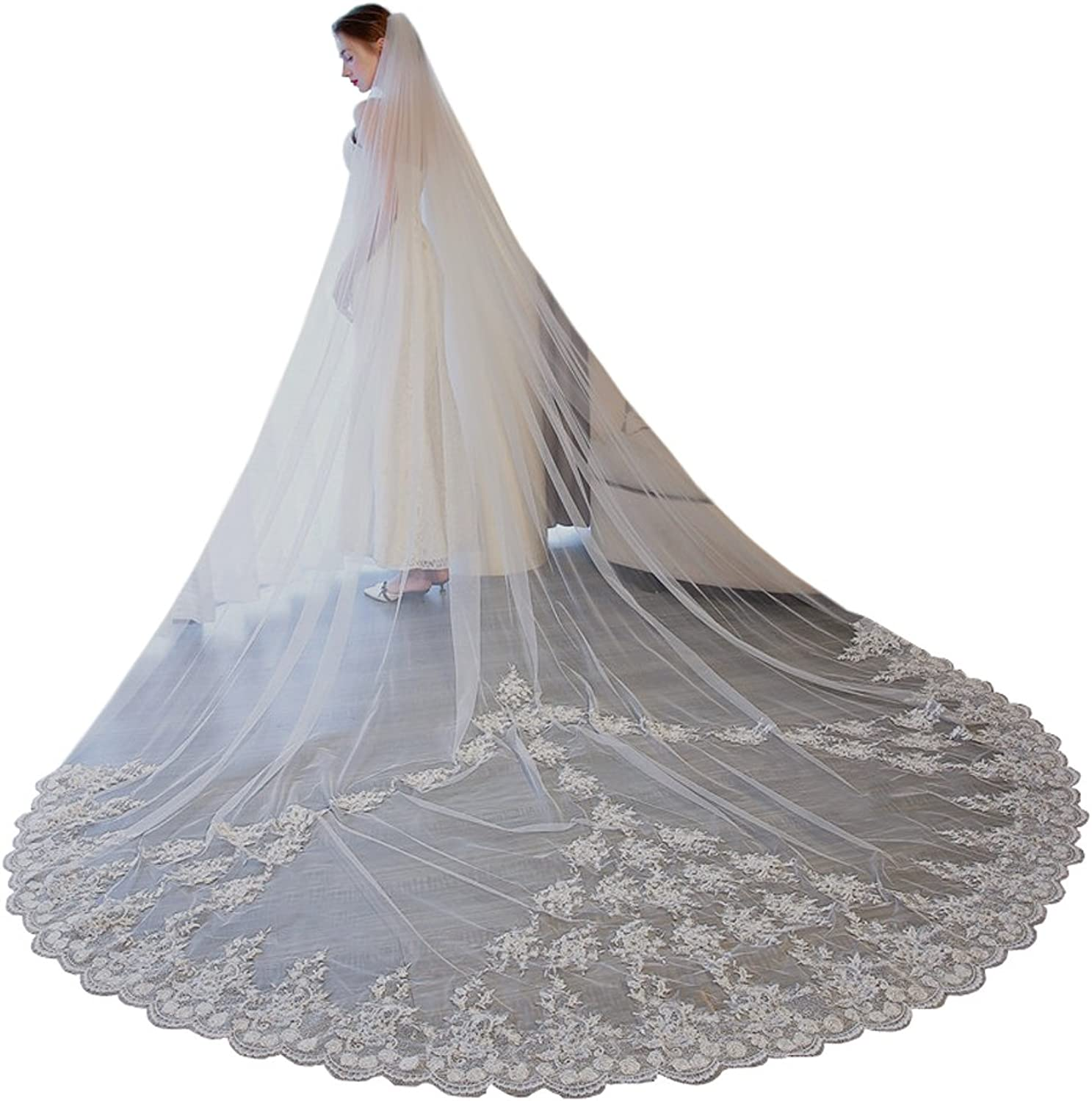 1T Bride Elegant Cathedral Veil White 3M 4M 5M Lace Applique With Free Bomb (Ivory, 3Meter)