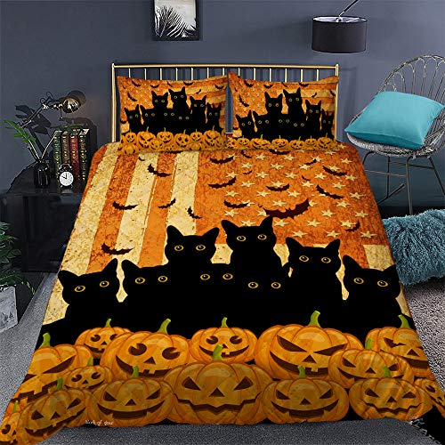GEEMBI Quilt Bedding Set-Black Cats Halloween Quilt Bed Set TRL272QS1, Queen Size Coverlet for All Season-Soft Microfiber Bedspread+Pillows-Quilts Gifts (King,Queen,Twin)