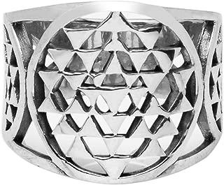 925 Sterling Silver Sri Yantra Sacred Geometry Talisman Unisex Large Band Ring 6, 7, 8