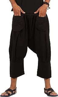 Mens Linen 3/4 Boho Hippie Drop Crotch Capri