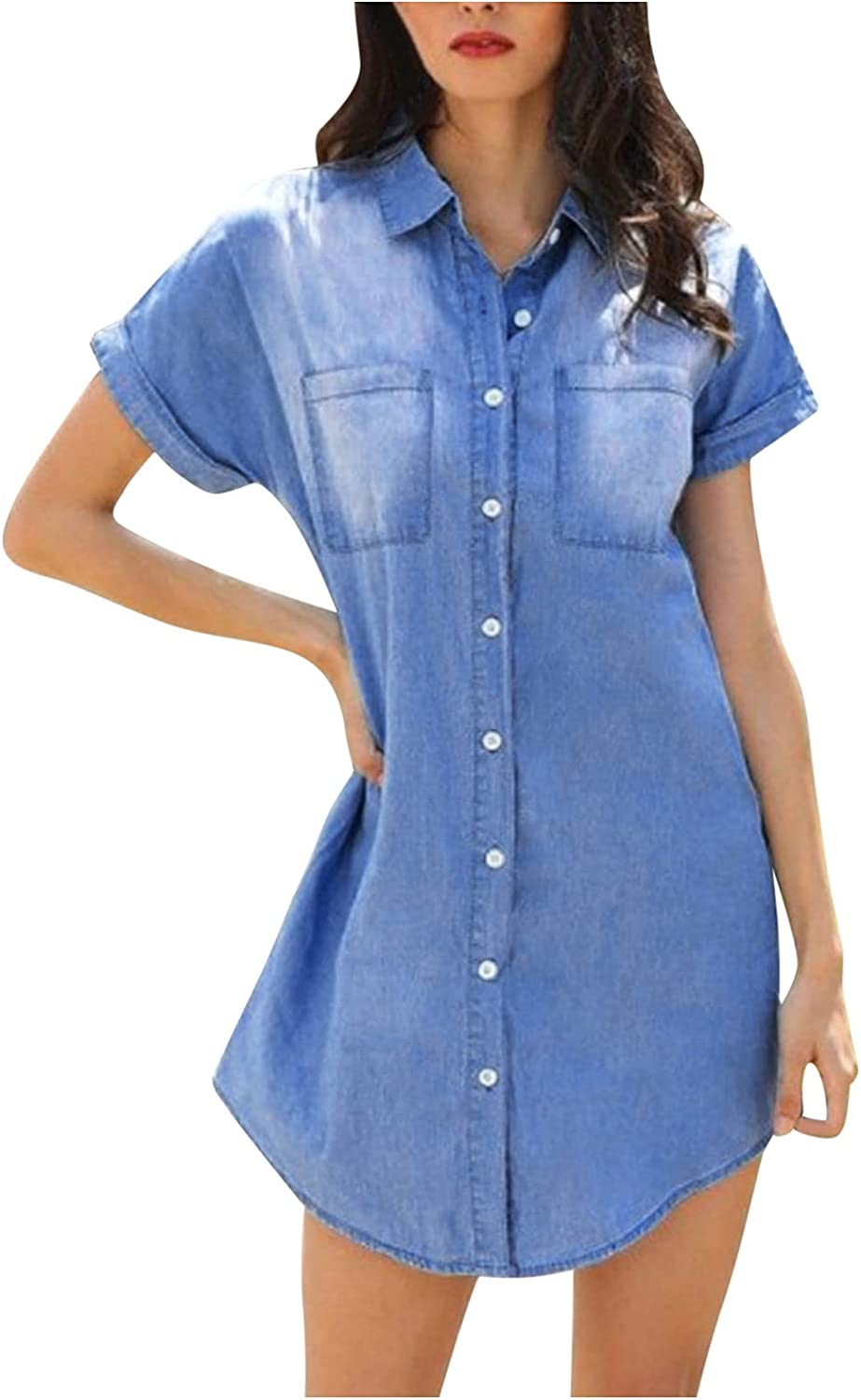 Euone_Clothes Blouses for Women Plus Size, Ladies Short Sleeve Lapel Solid Color Denim Shirt Single Breasted Ladies Shirt