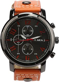 Mens Quartz Watches COOKI Clearance Analog Cheap Watches on Sale Leather Wrist Watches for Men-A20