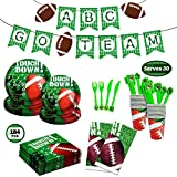 184 Piece Football Soccer Party Supplies Set Including Plates, Cups, Napkins, Spoons, Forks, Knives, Tablecloth and Banner, Serves 30, Perfect for Super Bowl and Soccer Football Theme Parties