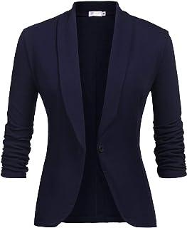 free shipping a536f ed657 Veste De Costume Femme Blazer à Manches 3 4 Slim Fit Veste de Tailleur  Bouton