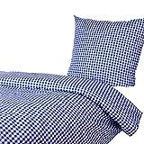Hans-Textil-Shop Bettwäsche 135x200 80x80 cm Vichy Karo 1x1 cm Blau