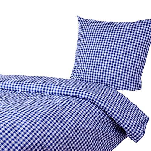 Hans-Textil-Shop Bettwäsche 135x200 80x80 cm Vichy Karo 1x1 cm Blau Baumwolle - Kariert mit Karomuster im Landhaus Stil