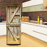 QQA Kühlschrank Wasserdicht Aufkleber 3D DIY Selbstklebend Entfernbar Dekor Kleiderschrank Kreativität Jahrgang Alte Tür