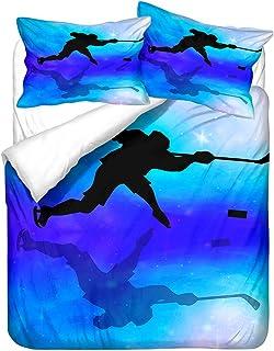 Movimiento Esquí Hockey Estrella Geometría Personaje Animado Juego de Cama Azul Armada Blanco Funda Nórdica y Funda de Almohada Niño Adolescente (Estilo 1, 180x220 cm - Cama 105 cm)