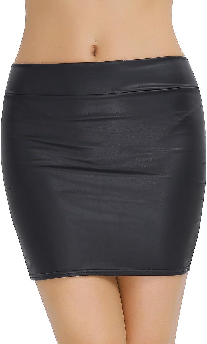 JanJean Womens Faux Leather Spandex Zipper Mini Bodycon Pencil Skirt Office Workwear Casual Wear