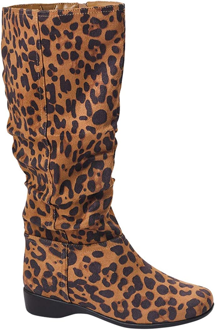 Women's Ashley Slouch Boot Micro Suede Knee High Fashion Low Heel Side Zip