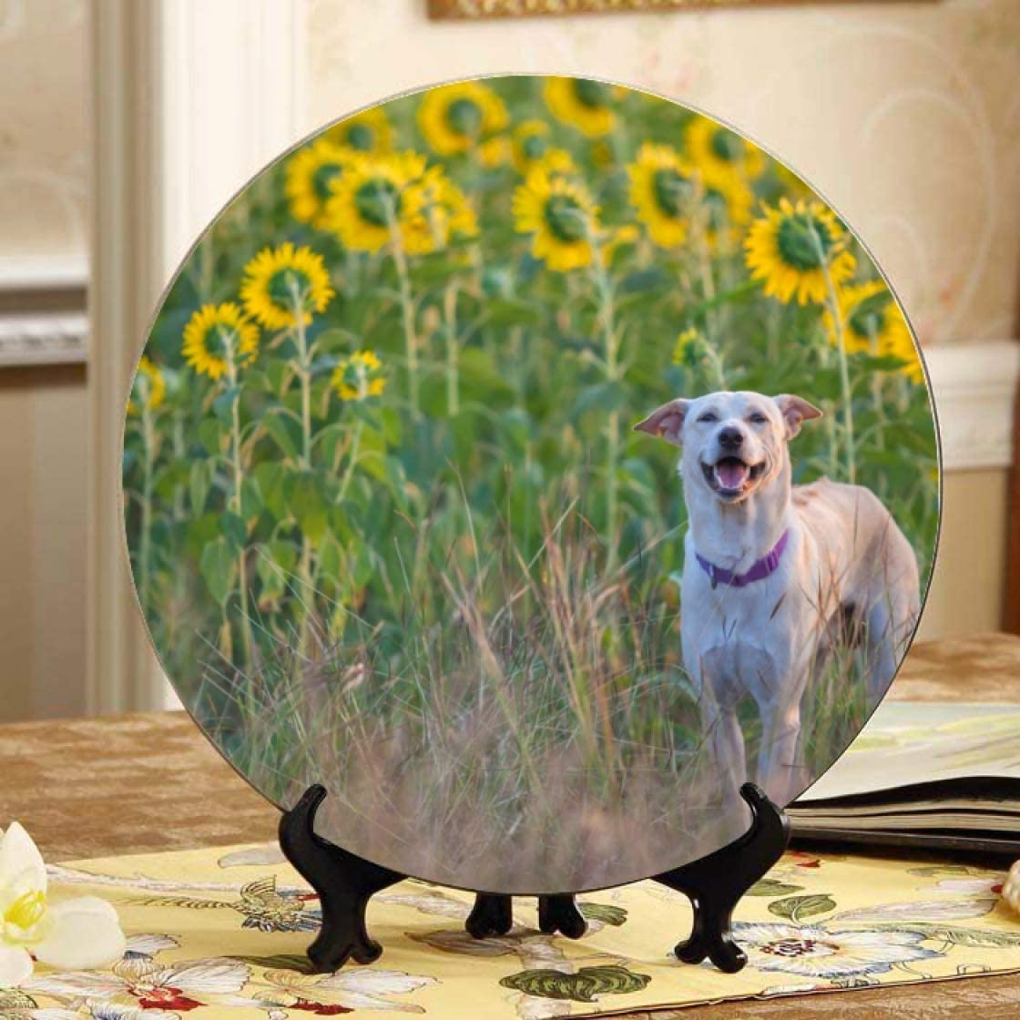 Lajro Happy sale Dog in Sunflower Challenge the lowest price of Japan Table Plate Decorations Decor Field