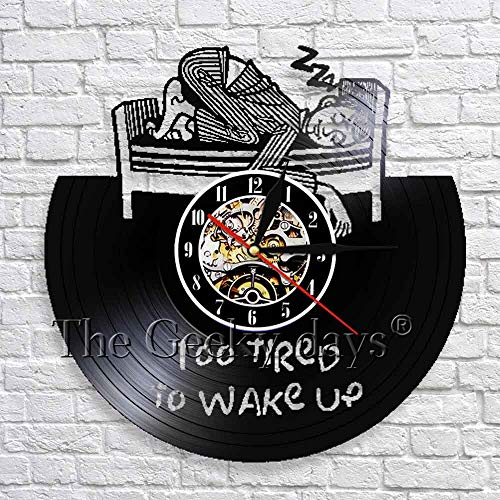 LED-Too tired to wake up wall clock personality Vinyl record clock wall hanging art decoration 3D wall clock living room decoration