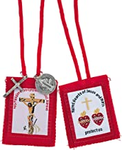 Catholic Red Cloth Passion Scapular with Silver Tone Medals, 24 1/2 Inch