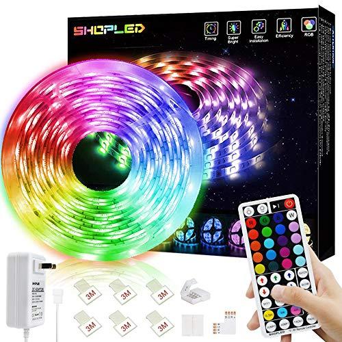 LED Strip Lights 16.4ft 5m Flexible Color Changing Led Lights Strip for Bedroom, 5050 RGB Led Tape Lights with RF Remote, 12V Power Supply RGB Led Light for Room, Bar, Tv, Kitchen, Home Decoration