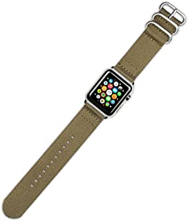 Debeer Watch Band - 2-Piece Nylon - Khaki - Fits 38mm Series 1, 2, and 3 Apple Watch [Black Adapters]