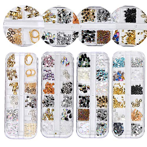 4 Boîtes Cristaux Nail Art Strass Multicolore Nail Studs Cheval Oeil Strass pour Nail Art Décorations Fournitures