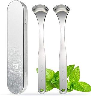 Stainless Steel Tongue Scraper Cleaner - Fresh Breath Tongue Scrapers Medical Grade Metal Tongue Scraping Cleaner 3 Conven...