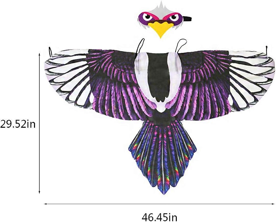 Testudineus Bird Cloak Costume for Kids Owl Wing Shawl Cape Mask for Toddler Boys Girls Festival Rave Dress Up