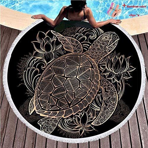 DKee Toallas de baño Ronda Manta Playa Manta Hippie Tapiz Mantel Meditación Yoga Picnic Mat Viaje Baño Microfibra Ligero Chal Roundie Toalla Protector solar Camping