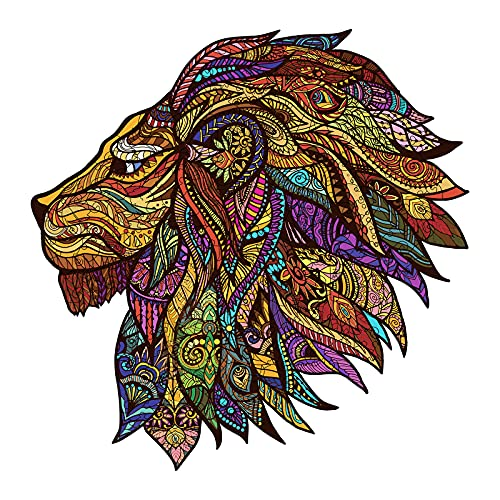 Wooden Jigsaw Puzzles- Lion King Puzzle Unique Shape Animal Wooden Puzzle, Best Gift for Adults and Kids, Family Game Play Collection