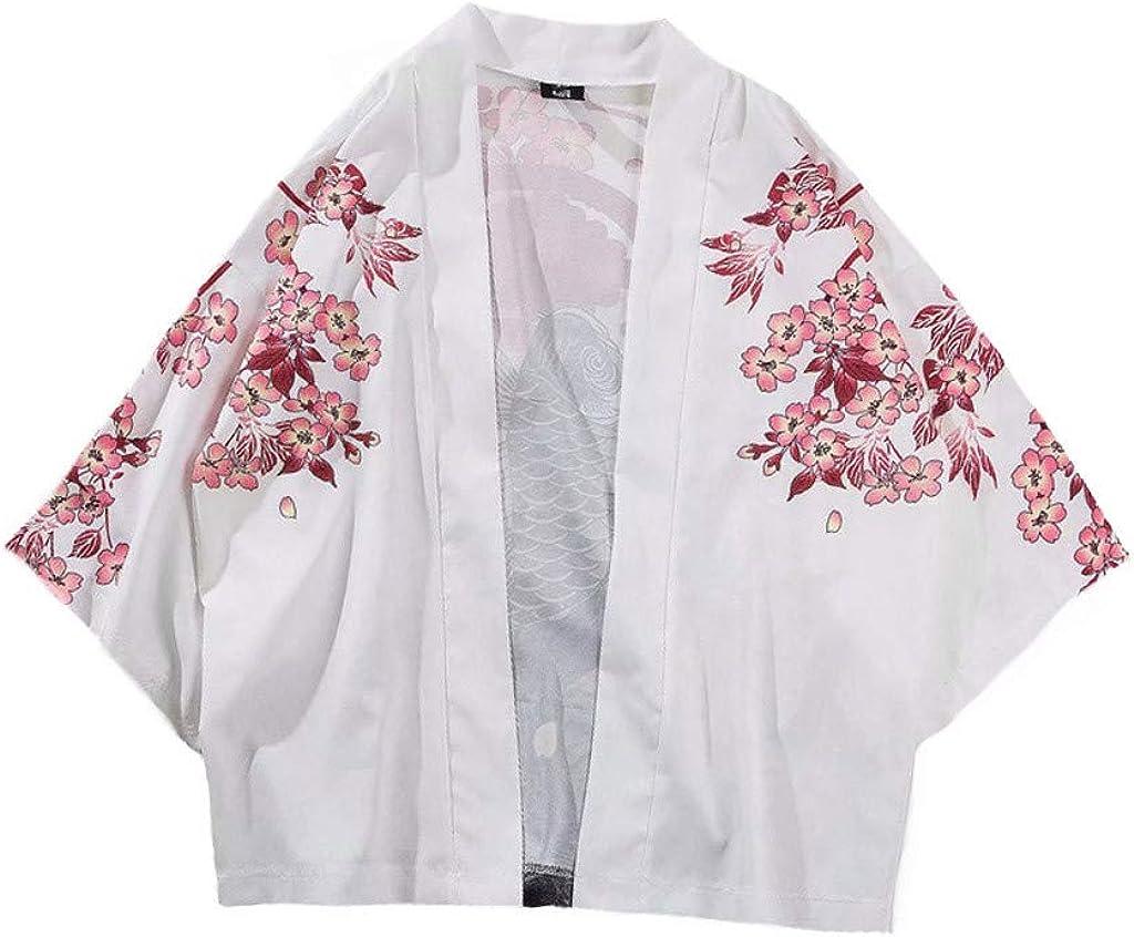 Mens Kimono Cardigan, F_Gotal Men's Kimono Japanese Floral Printed Kimono Cardigan Shirts Jackets Open Front Drape Cape