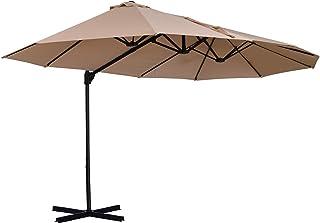 Sombrilla Doble Parasol Grande Inclinable para Jardín PatioTerraza Playa con Manivela Abrir y Cerrar Fácilmente 12 Varillas de Acero Ofrece Una Alta Estabilidad Color Marfil y Negro 270x460x250cm