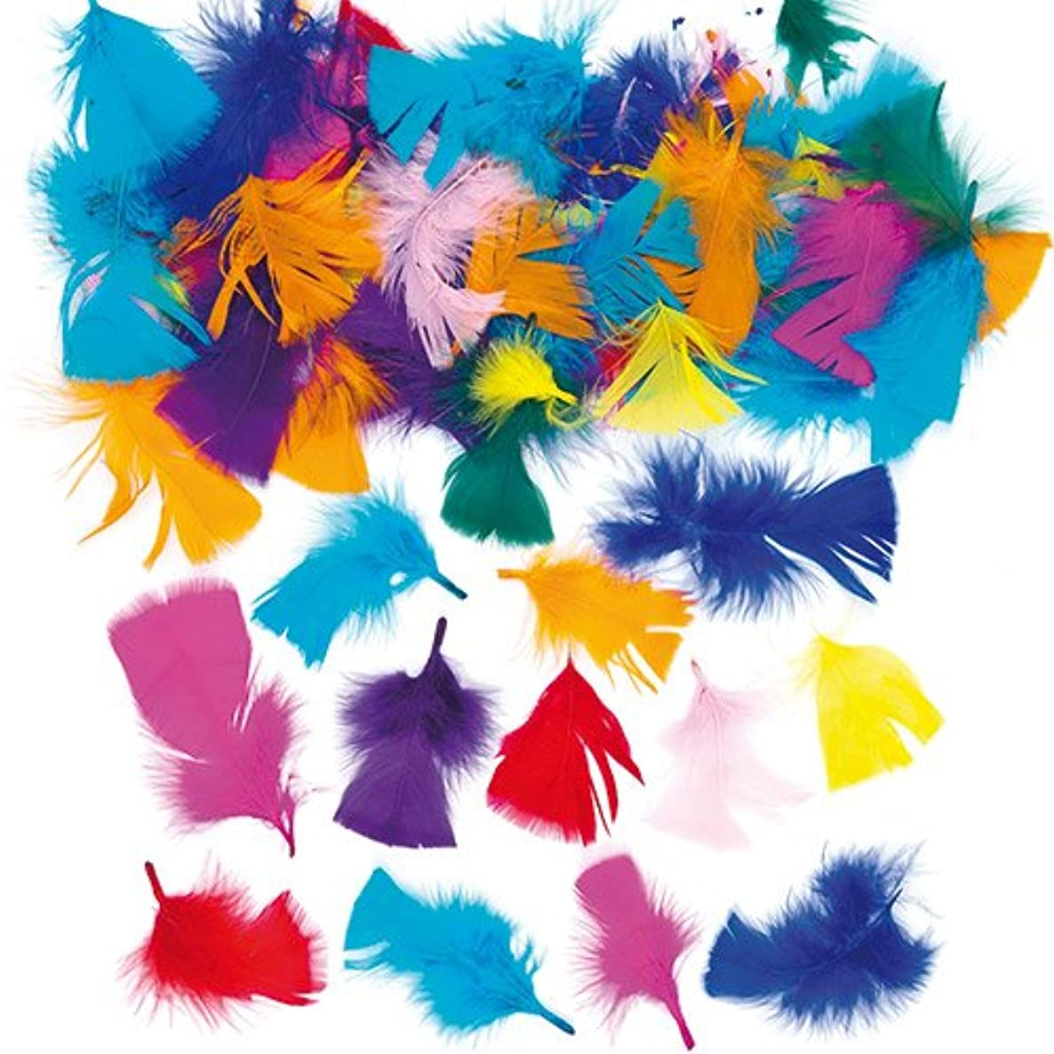 Baker Ross Assorted Bright Colors Collage Craft Feathers Children's Art Supplies | 130 Feathers | Weight: 0.7oz (20g)