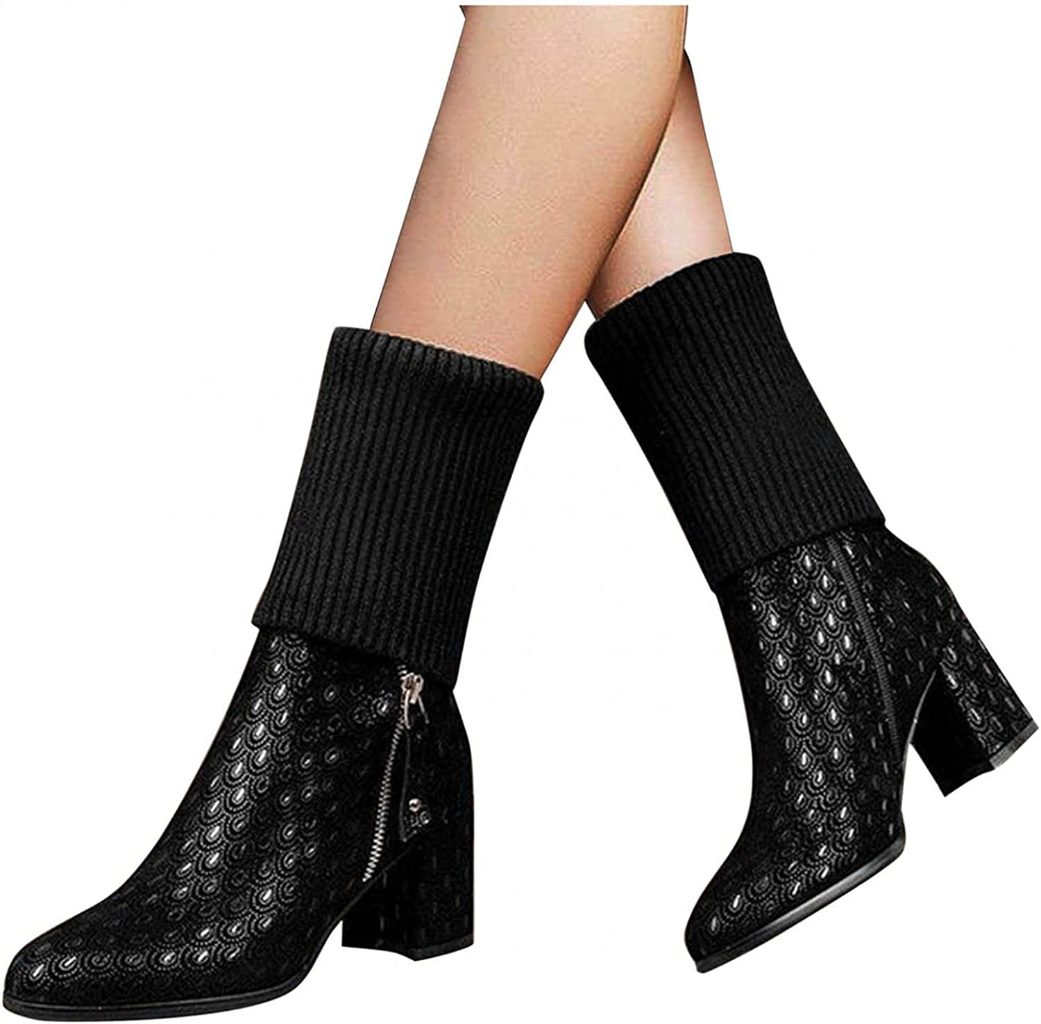 Niceast Boots for Women Fashion Stretch Knitted Cowgirl Boots Po