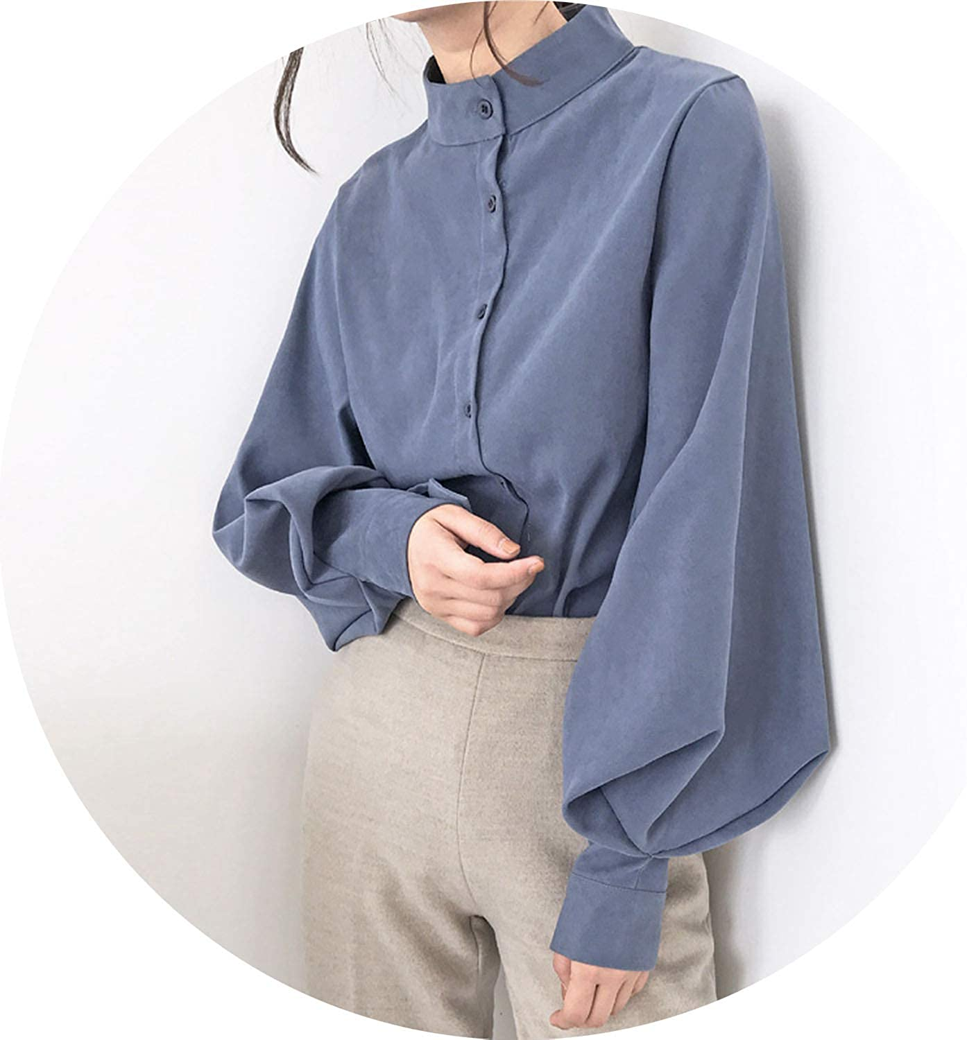 AllAboutUs New 2019 Fashion Blouse Women Stand Collar Shirt Large Lantern Sleeve Kimono Cardigan Vogue Women Shirts