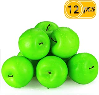 BcPowr 12PCS Fake Fruit Apples-Artificial Fruit Plastic Lifelike Green Apples Simulation Green Apples Fake Home Display Decoration for Still Life Paintings, Storefront Decoration(Green,2.76