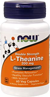 NOW Supplements, L-Theanine 200 mg with Decaf Green Tea, 60 Veg Capsules