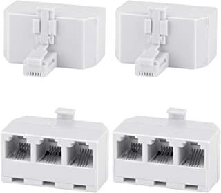 Three Way Telephone Splitters,Uvital Female 1 to 3 Converter Cable RJ11 6P4C Telephone Adaptor and Separator for Landline(...