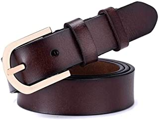 Student Belt with Alloy Buckle Ladies Casual Leather Belt. (Color : Wine Red)