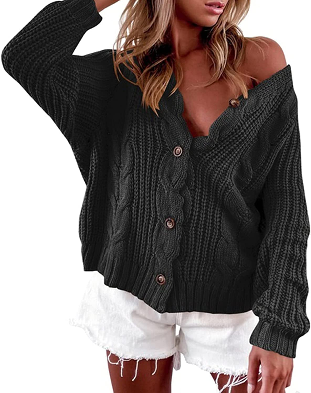 ZDFER Womens Open Front Button Down Cardigan Sweaters Tops Long Sleeve Hollow Casual Chunky Knit Loose Cozy Outwear Coat