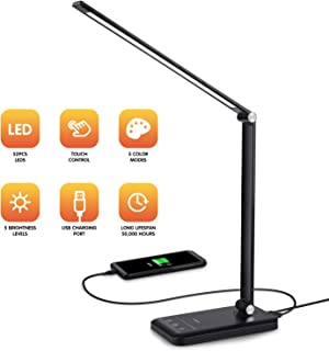 LED Desk Lamp - Dimmable Table Lamp with Eye-Caring of 5 Color Modes and 5 Brightness Levels, LED Office Lamp with USB Charging Port, Timer/Memory Function Lamp for Working, Reading (Black)