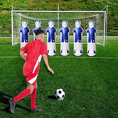 SUNSHINE-MALL Soccer Training Dummy,Boxing Bag for Adult, Portable Soccer Dummy Goalkeepr Air Mannequin, for a Great Training Tool (Blue 160 cm)