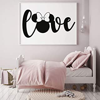 Minnie Mouse Wall Decal - Vinyl Decor for Bedroom or Playroom – Vinyl Lettering 'Love'